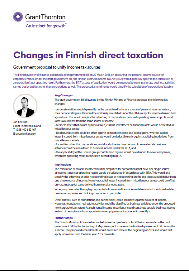 changes in Finnish direct taxation