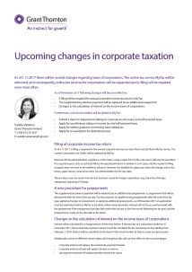 Upcoming changes in corporate taxation